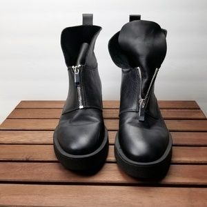 Zara TRF Black Leather Zip Front Boots Size 8
